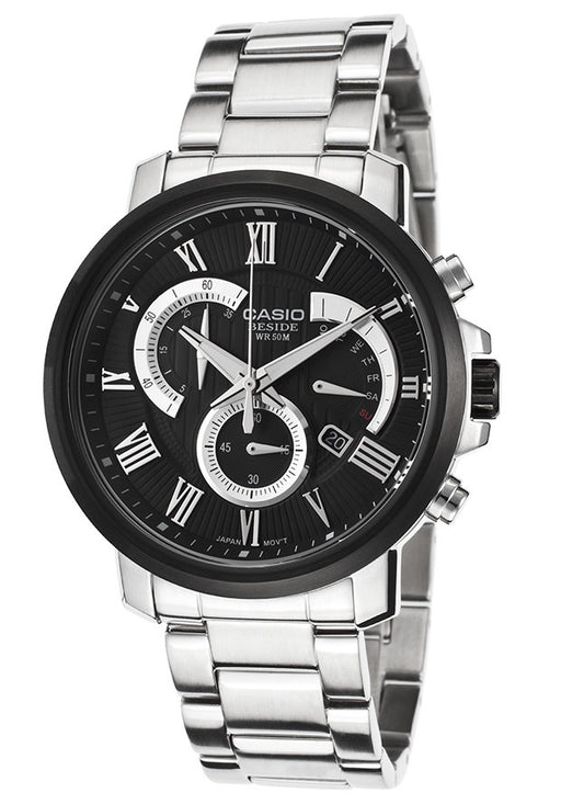 Casio BEM-506CD-1AVDF Men's Beside Silver-Tone Steel Bracelet Black Textured Dial