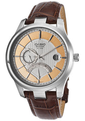 Casio BEM308L-7AVDF Men's Beside Brown Genuine Leather Strap Silver-Tone Textured Dial