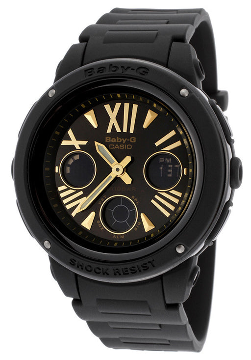 Casio BGA153-1BCR Women's Baby-G Analog/Digital Multi-Function Black Resin