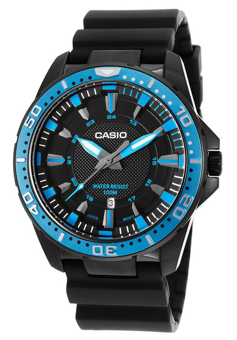 Casio MTD-1072-2AVDF Men's Enticer Black Resin Blue Bezel