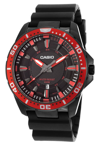 Casio MTD-1072-4AVDF Men's Enticer Black Resin Red Bezel