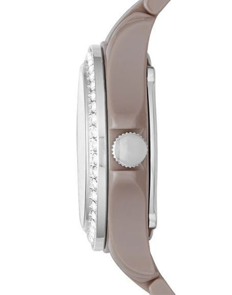 Fossil Riley GMT Antique Pearl Ceramic Ladies Watch CE1063