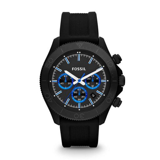 Fossil Retro Traveler Chronograph Silicone Watch - Black Ch2875