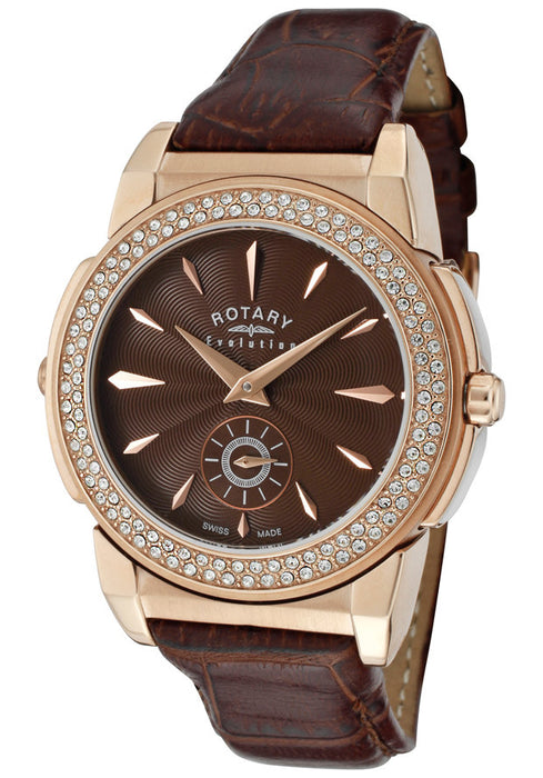 Rotary Women's Evolution TZ2 Reversible White Crystal Brown Leather ELS0010-TZ2-49-31