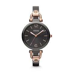 Fossil Georgia Three Hand Stainless Steel Watch - Smoke And Rose Es3111