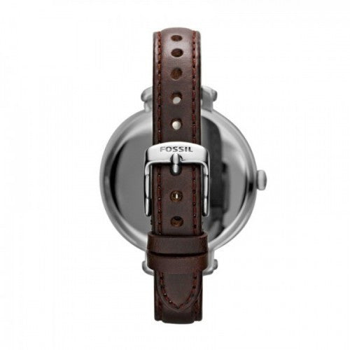 Fossil Heather Brown Dial Stainless Steel Brown Leather Ladies Watch ES3132
