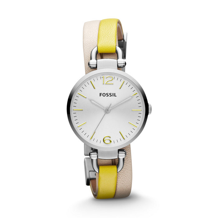 Fossil Georgia Leather Watch White And Yellow Es3223