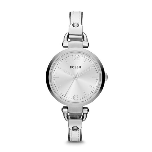 Fossil Georgia Three Hand Stainless Steel And Leather Watch - White Es3259