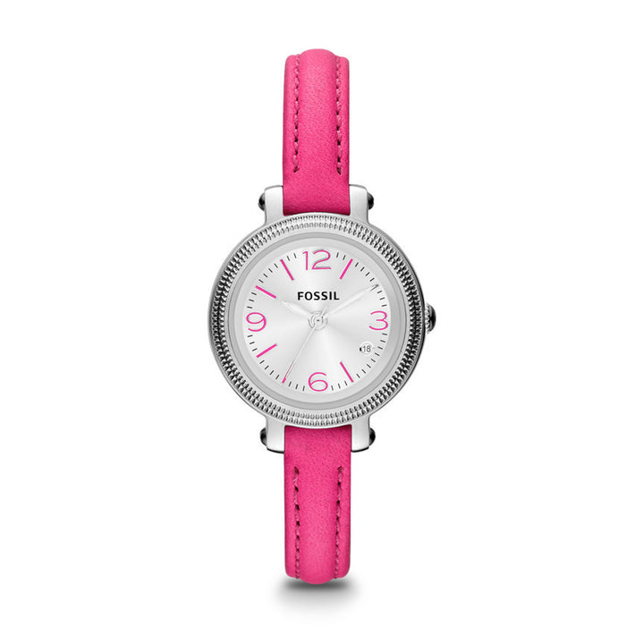 Fossil Heather Three Hand Leather Watch - Pink Es3302