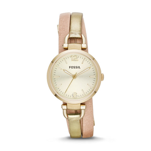 Fossil Georgia Three-Hand Leather Watch - Two-Tone Es3410