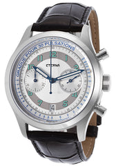 Eterna Men's Pulsometer 1942 Mechanical Chronograph Black Genuine Alligator