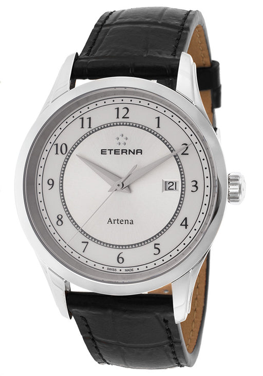 Eterna 2520-41-64-1258 Men's Artena Black Genuine Leather White Dial