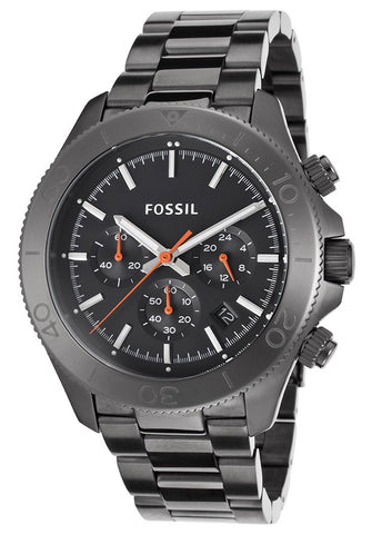 Fossil Retro Traveler Chronograph Black Dial Gunmetal-tone Mens Watch CH2864