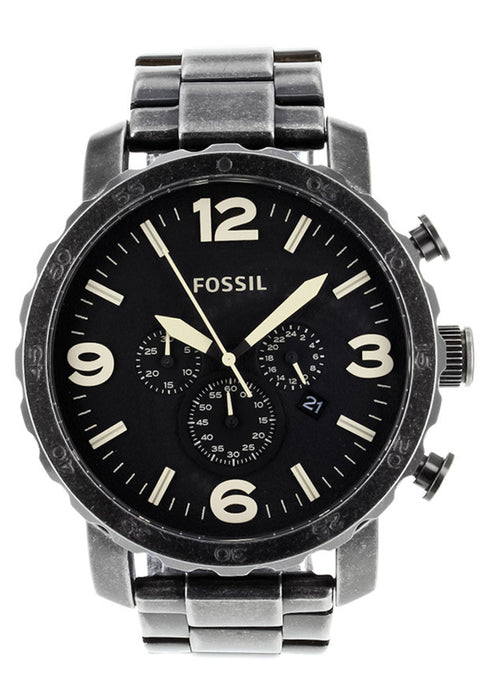 Fossil Nate Chronograph Burnished Stainless Steel Mens Watch JR1388