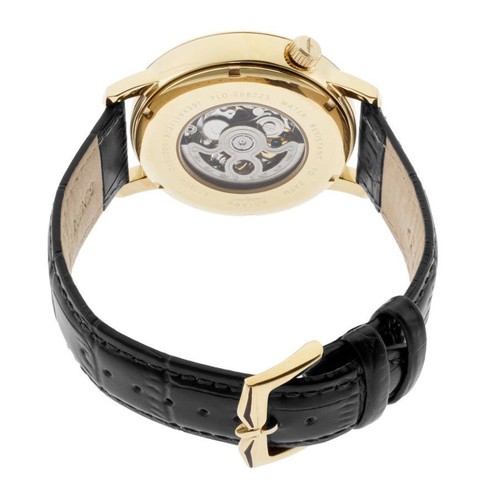 Rotary GLE000019-09 Men's Automatic Gold Dial Black Genuine Leather