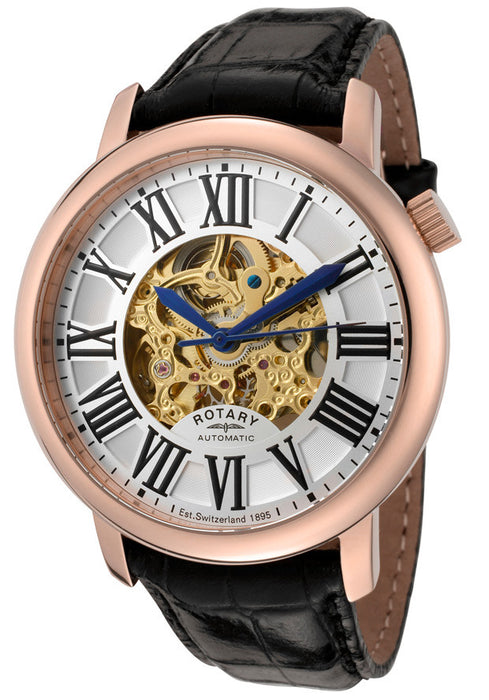 Rotary Men's Automatic Partially Skeletonized See-Thru Gold/Silver Dial Black Leather