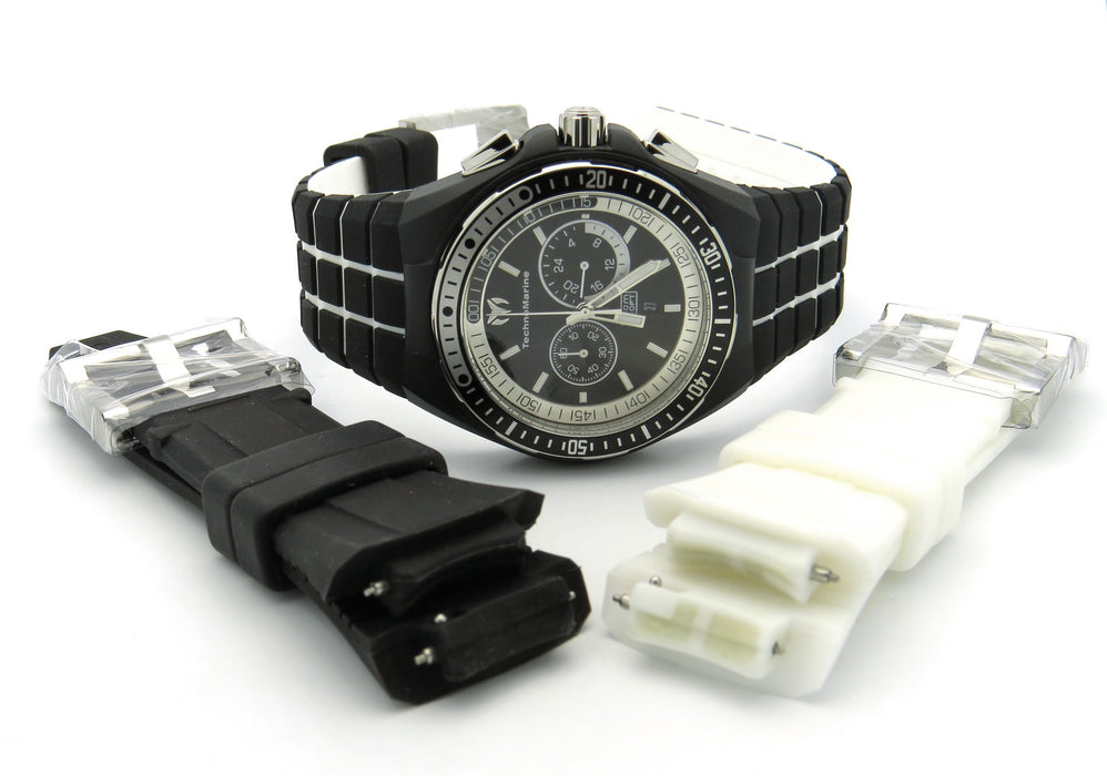 TechnoMarine Men's 110018 Cruise Sport Chronograph Black & White Dial Watch