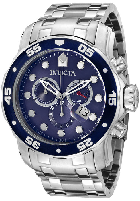 Invicta 0070 Men's Pro Diver Chronograph Silver-Tone Stainless Steel Blue Dial