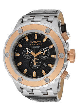 Invicta 10080 Men's Subaqua/Reserve Chronograph Black Textured Dial Black Genuine Leather