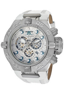 Invicta 10160 Men's Subaqua Noma III Chronograph Silver Dial White Genuine Leathe
