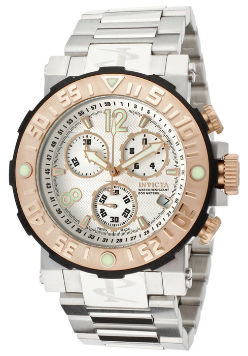 Invicta Men's 10587 Reserve Chronograph White Textured Dial Stainless Steel Watch