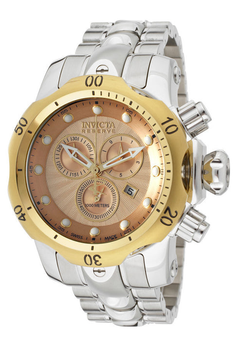 Invicta 10802 Men's Venom/Reserve Chronograph Rose Gold Textured Dial Stainless Steeel