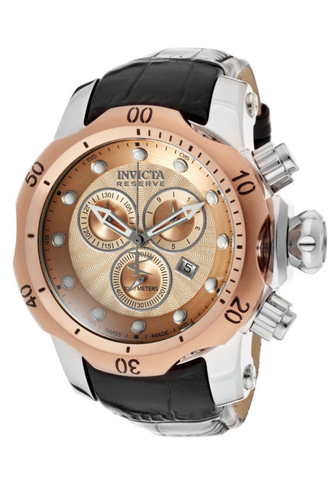 Invicta 10813 Men's Venom/Reserve Chronograph Rose Gold Textured Dial Black Genuine Leather