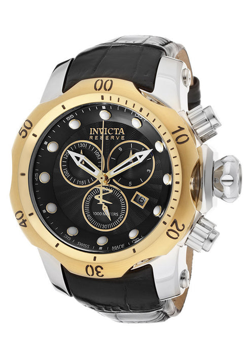 Invicta 10815 Men's Venom/Reserve Chronograph Black Textured Dial Black Genuine Leather