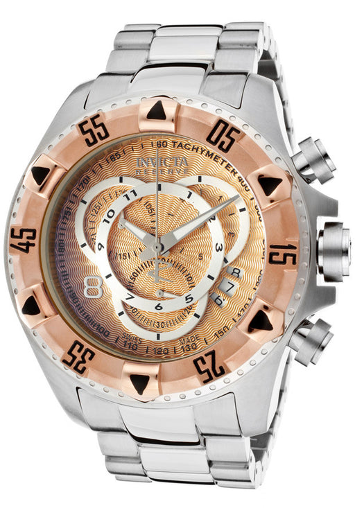 INVICTA 11000 Men's Excursion Reserve Chronograph Rose Gold Textured Dial Stainless Steel