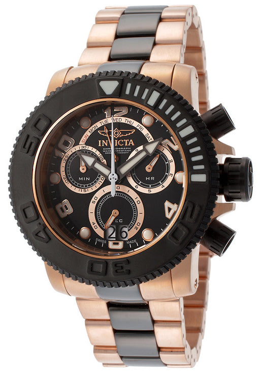 Invicta 11162 Men's Sea Hunter Chronograph Black Dial 18K Rose Gold Plated Stainless Steel & Black IP SS