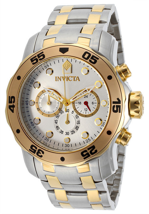 Invicta 13671 Men's Pro Diver Chronograph Silver Dial Stainless Steel & 18K Gold Plated