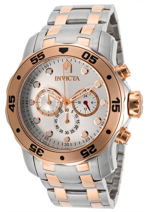 Invicta 13672 Men's Pro Diver Chronograph Silver Dial Stainless Steel & 18K Rose Gold Plated