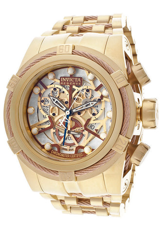 Invicta 13756 Men's Reserve Mechanical Chronograph White skeletonize Dial 18K Gold Plated Stainless Steel