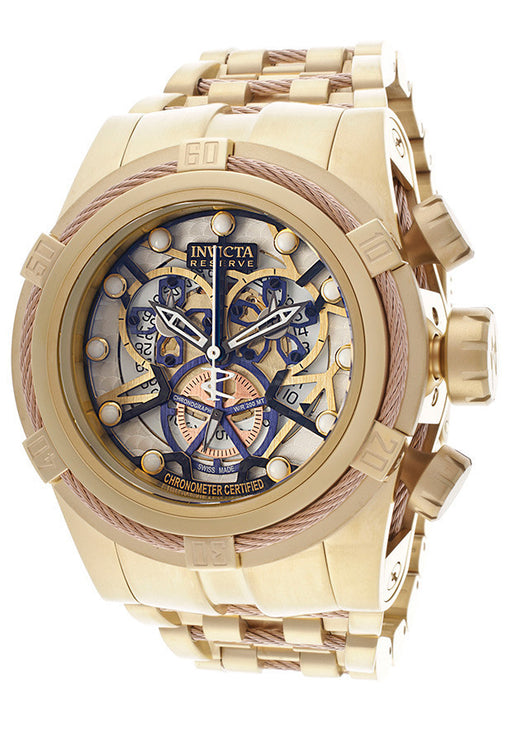 Invicta 13757 Men's Bolt/Reserve Mechanical Chronograph White skeletonize Dial 18K Gold Plated Stainless Steel