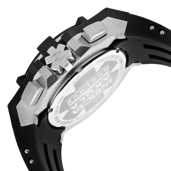 Invicta 14011 Men's Akula Reserve Chrono Silver-Tone Dial Black Polyurethane and Stainless Steel