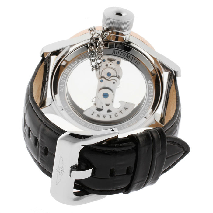 Invicta 14214  Men's Russian Diver Automatic Transparent Dial Black Genuine Leather