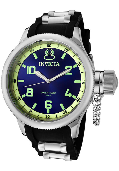 Invicta Men's 1434 Russian Diver Blue Dial Black Rubber Watch