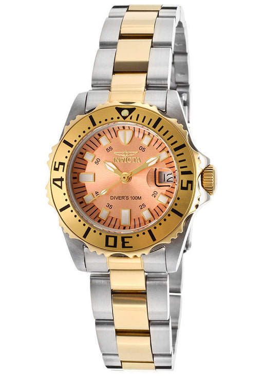Invicta Women's 14370 Pro Diver Rose Gold Tone Dial Two Tone Stainless Steel Watch