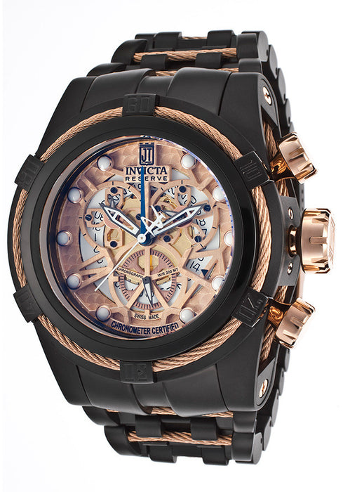 Invicta 14429BWB  Men's Jason Taylor/Reserve/Bolt Chronograph Multi-Color Skeletonize Dial Black IP