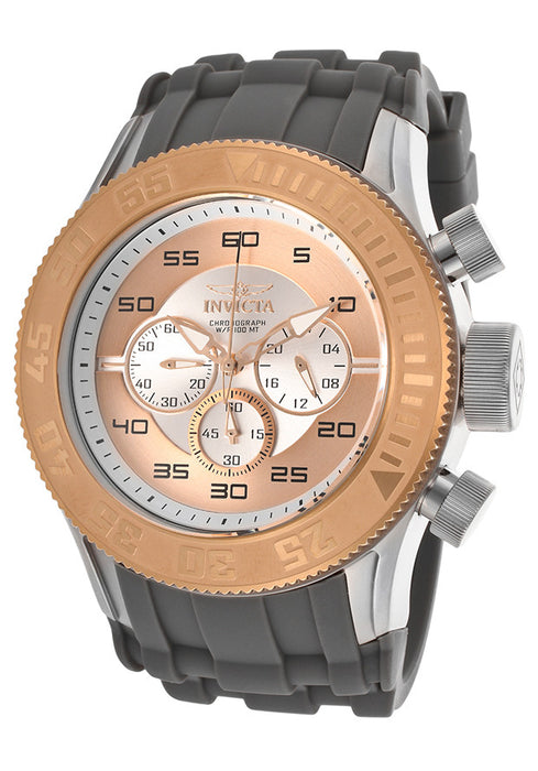 Invicta 14980 Men's Invicta Pro Diver Chronograph Rose Gold and Silver Dial Gray Polyurethane