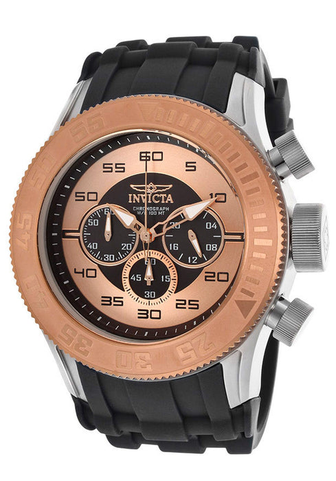 Invicta 14982 Men's Pro Diver Rose Gold tone/Black Chronograph Dial Black Silicone