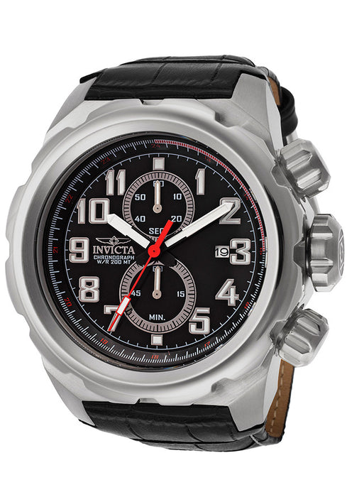 Invicta 15066 Men's Pro Diver Chronograph Black Dial Black Genuine Leather