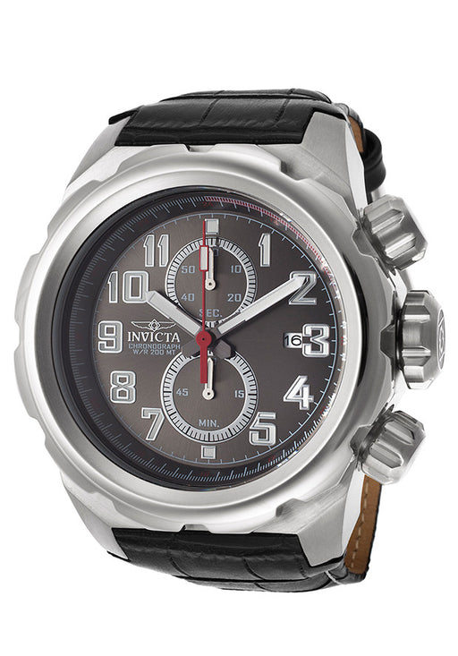 Invicta 15068 Men's Pro Diver Chronograph Gunmetal Dial Black Genuine Leather