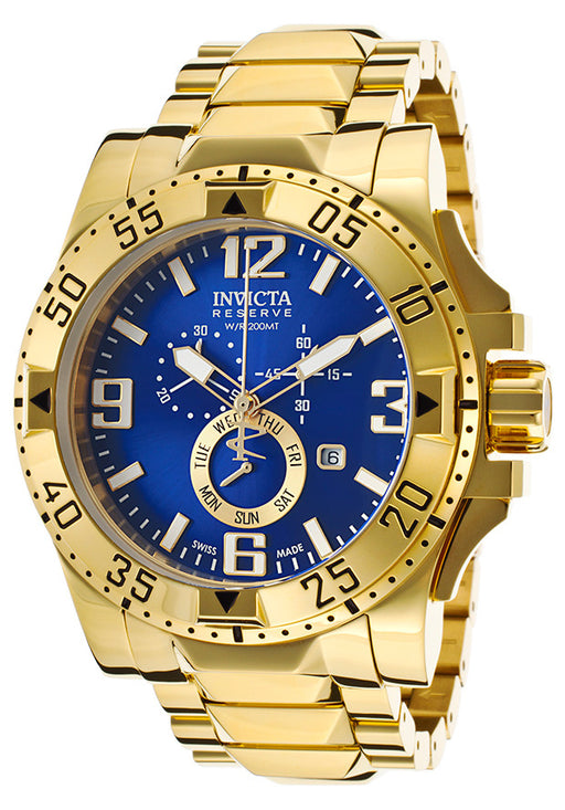 Invicta 15329 Men's Excursion Chronograph 18K Gold Plated Steel Blue Dial Watch