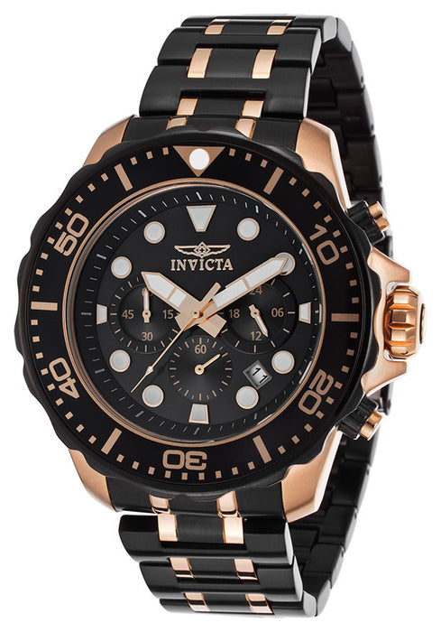 Invicta 15392 Pro Diver Chronograph Men's Watch Black IP & Rose Gold