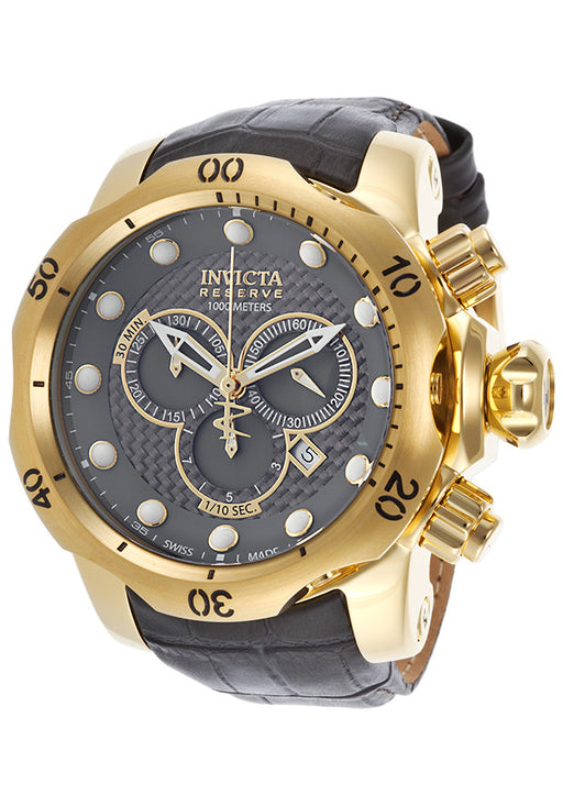 Invicta 15464 Men's Venom Chronograph Dark Grey Leather and Dial Gold-Tone Case