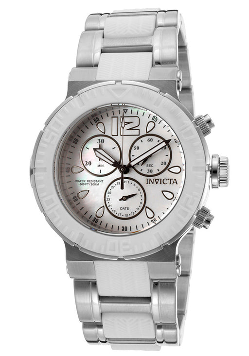 Invicta Women's 15499 Ocean Reef Chronograph White Oyster Dial Stainless Steel Watch