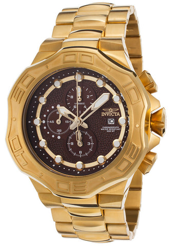 Invicta 15551 Men's Pro Diver 18K Gold Plated Steel Case Chronograph Brown Subdials