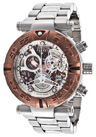 Invicta Men's Subaqua 15619 Chronograph White Skeletonize Dial Stainless Steel Watch