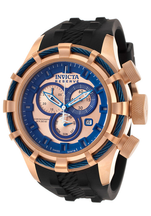 Invicta 15780 Watches,Men's Bolt Reserve Chrono Black Polyurethane Rose-Tone & Blue Dial